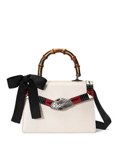 Lilith+Leather+Top-Handle+Satchel+Bag,+White/Red/Black+by+Gucci+at+Neiman+Marcus.