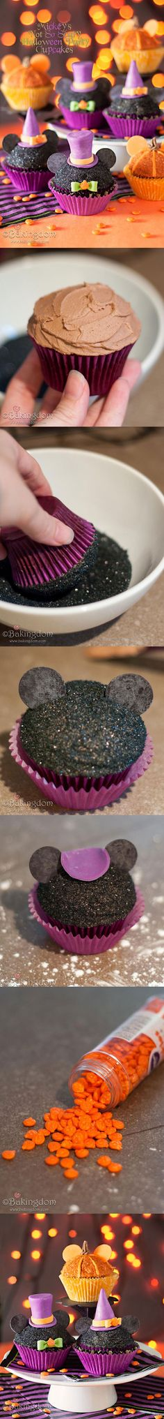 Mickey's Not So Scary Halloween Party Cupcakes made with glittering sugar, Neco wafers and fondant.