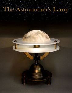 The Astronomer's Lamp, designed and hand-made by Art Donovan. Brass, frosted glass, hand painted, and a polycarbonate Moon