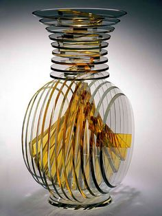 "Sidney Hutter, Artist, Vertical Vase #5, Vertical Glass Series, 1997, glass; cut, ground, polished circles, 17"" x 10"" x 12"""