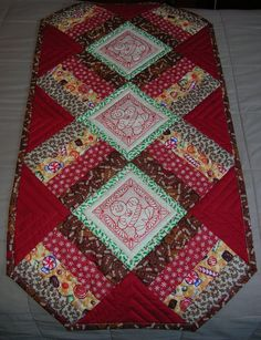 Gingerbread Quilted Christmas Table Runner by HeartfeltStitchery, $45.00
