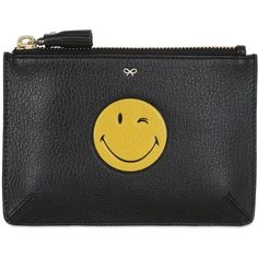Anya Hindmarch Women Wink Smiley Embossed Leather Pouch (10425 TWD) ❤ liked on Polyvore featuring bags, handbags, black, real leather purses, genuine leather purse, 100 leather handbags, embossed handbags and leather handbags