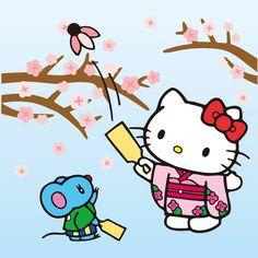 hello kitty plays hanetsuki on new years day