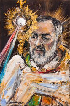 Divine Mercy of Saint Pius of Pietrelcina Art Print by castrillo Catholic Art, Catholic Saints, Religious Art, Oracion A Santa Rita, St Pio Of Pietrelcina, Divine Mercy Chaplet, Spiritual Decor, Jesus Painting, Jesus Pictures
