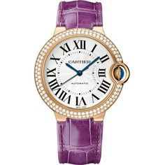 CARTIER Ballon Bleu de Cartier 18ct pink-gold, diamond and leather... ($37,015) ❤ liked on Polyvore featuring jewelry, watches, leather jewelry, leather watches, diamond jewelry, cartier jewelry and automatic movement watches