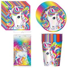 Majesty By Lisa Frank Party Supplies Pack Including Plates, Cups, Napkins and Tablecover - 8 Guests Unique! 25th Birthday Parties, 90th Birthday, Unicorn Birthday Parties, Birthday Party Themes, Birthday Ideas, Theme Parties, Birthday Board, Lisa Frank, Rainbow Unicorn Party