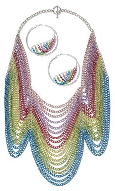 Bib-Style Necklace and Earring Set with Aluminum Chain - Fire Mountain Gems and Beads