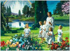 Children with Jesus in Heaven. Harry Anderson painting.