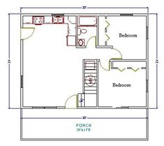 20x30 single story floor plan one bedroom small house for Monster mansion mobile home floor plan