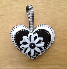 White & Black Felt Heart Shaped Door Hanger £4.50