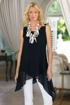 Soft Surroundings Tops - Plus-size Celine Tunic Look Fashion, Fashion Outfits, Fashion Tips, 50 Fashion, Fashion Brands, Mature Women Fashion, Womens Fashion, Vetements Clothing, Alexa Chung