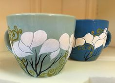 Original Hand Painted Ceramic Coffee Mug - Each one is baked, so it's dishwasher & microwave safe - https://www.etsy.com/listing/285325891/lotus-coffee-mug