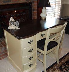 Desk Vintage Ebony and Oyster Metallic 1959 Harmony House Restored | eBay