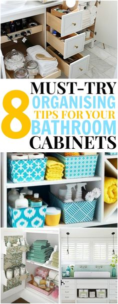 Must-try organising tips for your bathroom cabinets.