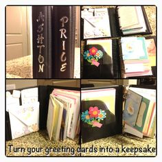 Turn your greeting cards into a keepsake. All you need is an old Dayplanner, hole punch, hot glue gun! I even used stickers etc from diaper cakes from my baby shower. Great baby or bridal shower gift. As host you could even make this for the guest of honor afterwards. No more cards in boxes or drawers!
