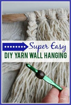 Simple Yarn Wall Hanging Tutorial - learn how to make a boho style wall hanging with driftwood yarn and wooden beads! Simple Yarn Wall Hanging Tutorial - learn how to make a boho style wall hanging with driftwood yarn and wooden beads! Yarn Wall Art, Yarn Wall Hanging, Wall Hangings, Diy Crochet Wall Hanging, Hanging Beads, Art Yarn, Easy Knitting Projects, Yarn Projects, Macrame Projects