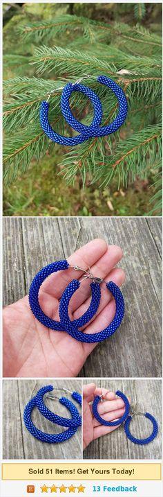 Royal blue #earrings Sapphire earrings Big #hoopearrings Blue hoop #jewelry Circle earrings Beadwork jewelry #Statement gift girlfriend https://www.etsy.com/IvonaHMJewelry/listing/542267984/royal-blue-earrings-sapphire-earrings?ref=shop_home_active_18