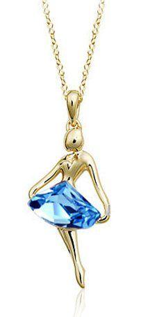 """18K Gold Plated Swarovski Elements Crystal Ballet Dancer Pendant Necklace 18""""-CN3569B"""