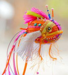 Goldfish - Orange Koi Fish Number 3 by Brooke Connor Design on Etsy Textile Sculpture, Fish Sculpture, Soft Sculpture, Sculptures, Clay Fish, Felt Fish, Fabric Fish, Fabric Art, Fabric Crafts