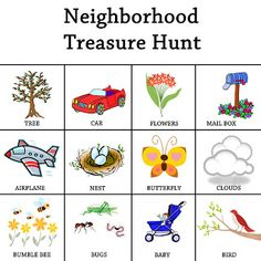 treasures, activ printabl, idea, neighborhood treasur, scavenger hunts, fun, treasur hunt, kid summer, kids summer activities