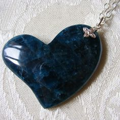 Wonderful Teal Blue Apatite Heart Pendant and Chain in Sterling Silver £28.75