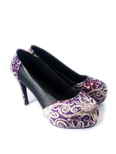 c74197e88 Items similar to Black leather platform with Delicate Silk Batik on Etsy