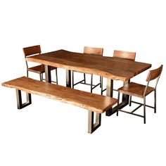 Contemporary rustic dining table made from solid black walnut with