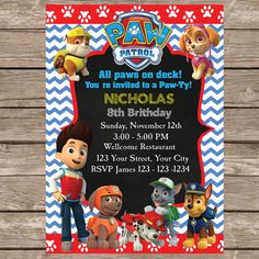 Paw Patrol New Inspired Blue Red Pattern Paw by Invitationcard