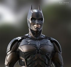 """The dark knight armored suit (""""Injustice"""" version). Based on the official Christopher Nolan Dark knight suit, Here is a redesign of the iconic costume in a more """"Injustice"""" look and modern tech style. No sculpting phase (except for Batman Armor, Im Batman, Batman Arkham, Batman Robin, Batman Cosplay, Batman Costumes, Batman Poster, Batman Wallpaper, Christian Bale"""
