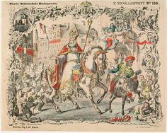 St. Nicolaas en Pieter te paard.  Prent met Sint Nicolaas en Pieter met zijn roe, allebei op een paard, rijdend door een versierde stad met kinderen en ouders. In de versierde rand rondom de grote afbeelding staan kleine plaatjes afgebeeld. Op de afbeelding linksboven rijdt Sint op het dak, rechtsboven staan kinderen bij de schoorsteen en rechts in het midden is een moeder die haar kind met de roe slaat te zien. ca. 1881-1901