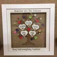 Unique Personalised Deep Box Frame Family Tree Mothers Day Mum Nana Grandma Gift