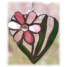 Daisy Heart Suncatcher Stained Glass Flower Pink £14.00