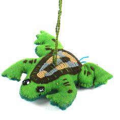 Global Crafts Handmade Felt Frog Holiday Ornament