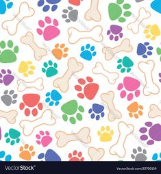 Seamless dog pattern with bone and dogs footprint vector image on VectorStock Paw Patrol Party, Dog Pattern, Writing Paper, Dog Paws, Pics Art, Digital Pattern, Stickers, Footprint, Pet Birds
