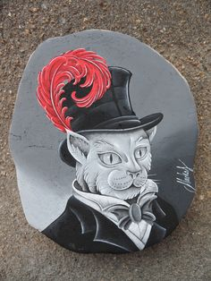 Cat - Tattoo Style (Peinture acrylique sur bois)