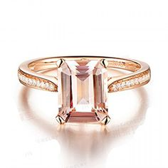 Emerald Cut Morganite Engagement Ring Pave Diamond Wedding 14K Rose Gold . Available at www.Brandinia.com
