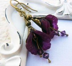 Purple antique glass earrings.