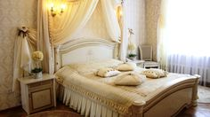 Elegance Bedroom Design With cute Bed And Cushions Luxurious Bunk Bed White Smooth Curtain And White Wood Cabinets