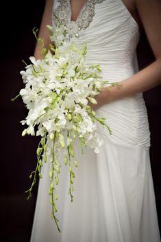 White Orchid Bouquet, Orchid Bouquet Wedding, Cascading Wedding Bouquets, Summer Wedding Bouquets, Bridal Bouquet Fall, Corsage Wedding, Bride Bouquets, Bridal Flowers, Bridesmaid Bouquet