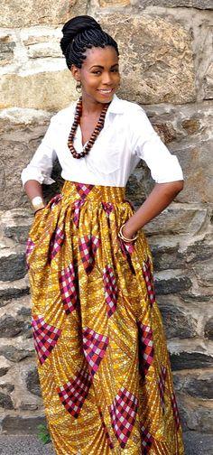 African Print Skirt - Laura Maxi. Ankara | Dutch wax | Kente | Kitenge | Dashiki | African print dress | African fashion | African women dresses | African prints | Nigerian style | Ghanaian fashion | Senegal fashion | Kenya fashion | Nigerian fashion | Ankara crop top (affiliate)