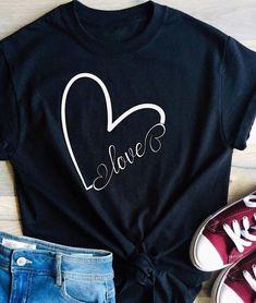 Heart Shirt, Love Shirt, Diy Shirt, Girl T Shirt, Woman Shirt, Cute Tshirts, Mom Shirts, Kids Shirts, T Shirts For Women