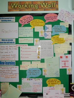 Working Wall that shows samples of all the work done throughout the unit. Great way to display student progress over a longer period of time. This type of board allows classroom occupants and visitors to appreciate the whole learning process. Maths Classroom Displays, Year 6 Classroom, Ks2 Classroom, Teaching Displays, Class Displays, Classroom Organisation, Classroom Displays Primary Working Wall, Year 6 Maths, English Classroom Displays