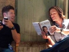J2. Reading to each other? This is too much for me to take. <3 #SupernaturalCast #JensenAckles #JaredPadalecki