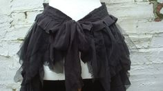 Upcycled Black Bustle Skirt Woman's Clothing by BabaYagaFashion