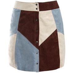 Sans Souci Patch work suede a line skirt ($30) ❤ liked on Polyvore featuring skirts, dusty blue, button down skirt, suede a line skirt, sans souci, patchwork skirts and suede skirt