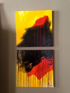 carpe diem. original abstract diptych painting by megan cutler, available on etsy