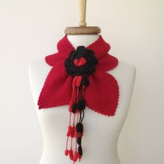 SALESALERed Fashion MARINER Neckwarmer With Flower by knittingshop, $25.00