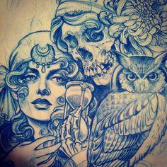 Tattoo Artwork by Teniele Sadd from Korpus Tattoo in Brunswick, Melbourne Tatto Ink, Tattoo You, Tattoo Sketches, Tattoo Drawings, Art Drawings, Life Tattoos, Cool Tattoos, Tatoos, Chicano Art