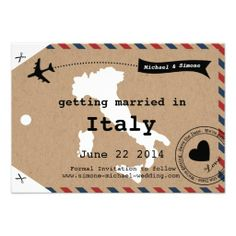Italy Airmail Luggage Tag Save the Date with Map Invites How tolowest price Fast Shipping and save your money Now!!...
