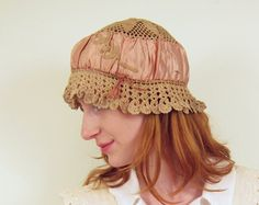 Vintage  1920s Hat Boudoir Cap in Rose Pink Silk and Beige Crochet Sleep Bonnet